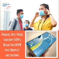 Masker Bedah Medis Surgical mask 3ply earloop resmi BNPB 50PCS