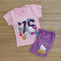 Setelan Baju Kaos Anak Perempuan Cewek Hello Kitty Unicorn Pink Ungu - Ukuran 4