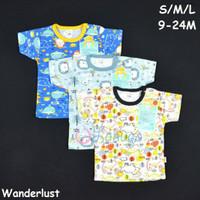 LIBBY Baju Pendek Bayi/Baby Motif S,M,L - Kancing Bahu Oblong