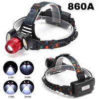 SENTER KEPALA HEAD LAMP LED ROTARY ZOOM T6 RECHARGEABLE 860A