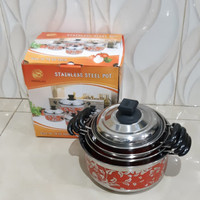 panci set motif 4 pcs + tutup stainless steel/cookware set motif
