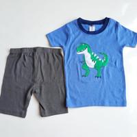 set Baju kaos anak laki-laki impor original motif dinosaurus