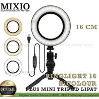 RingLight 16 MIXIO For Selfie Vlogger Livestreamer Plus Tripod Lipat