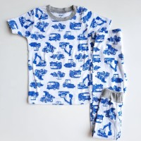 set Baju piyama anak laki-laki impor setelan motif eskavator