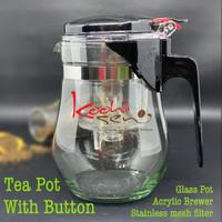 Glass Teapot with Button Stainless mesh filter Teko Kaca Seduh Teh