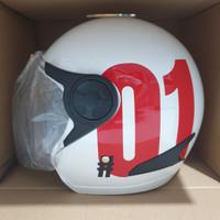 PROMO Helm Nomor 01 Half Face Warna Putih SNI