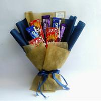 Buket Snack Navy Gold Chocolate / Buket Makanan / ultah / Graduation