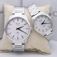 Jam Tangan Couple Alexandre Christie 8579 Silver White Original