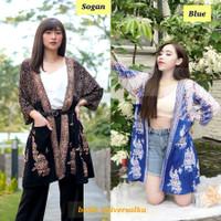 Outer Wanita Batik Wanita. Long Cardigan Jumbo- Sangkar Kupu