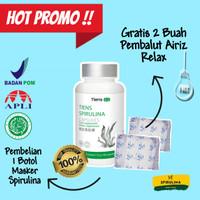 Masker Spirulina Tiens 100% Original (1 Botol) Bonus Pembalut Airiz