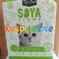 Pasir Kucing Gumpal/ Pasir Kucing Kit Cat Soya Clump Green Tea 7L