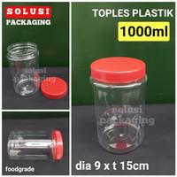 TOPLES PLASTIK 1000ml BULAT/TOPLES MIKA BOTOL SELAI SAMBAL KUE KERING