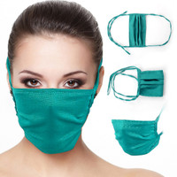 Masker Kain Save-Us PS 522, warna hijau, bahan wolly crepe