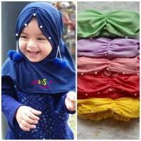 Hijab Anak Bayi pom-Pom 2 - Jilbab Hijab Bayi 0-3th - Kerudung Bayi