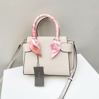 Pedro Twill-Trimmed Top Handle Bag White