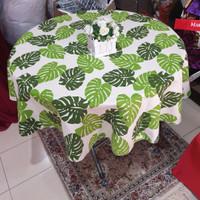 Taplak meja Makan Bulat 4 kursi Tropis Monstera diameter 120 cm