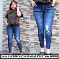 Sally Blue Ripped 35 36 37 38 Celana Panjang Jeans Wanita JUMBO