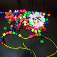 Mainan Edukasi Meronce Bentuk Tong Warna Warni 100