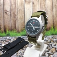 Jam Tangan Pria Swiss Army Analog Strap Canvas Hijau 1880 Original