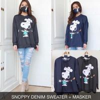 Snoopy Denim Sweater FREE MASKER JUMBO XXL BIGSIZE