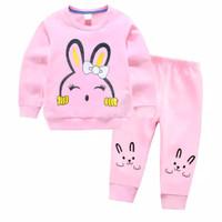 setelan sweater anak perempuan pink