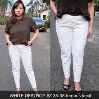 White Destroy 35 36 37 38 Celana Panjang Putih Jumbo Wanita