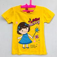 Baju Kaos Anak Perempuan Lengan Pendek Murah Warna Kuning 6-7 Tahun