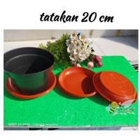 Alas Pot Plastik 20 Merah Bata | Jual Tatakan Pot untuk Bunga 20 cm Ha