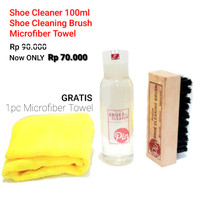 SHOES CLEANER 100 ml + SHOE CLEANING BRUSH + FREE MICROFIBER PIN SHOES