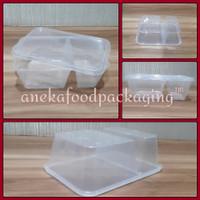 Thinwall/kotak makan tahan panas bento bening sekat 2 (700ml)
