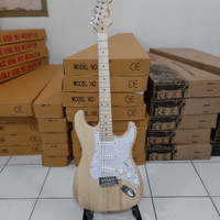 gitar listrik murah fender stratocaster natural bandung