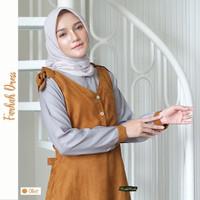 Olive - Gamis Farhah Dress Busui Friendly Ori By RR Riskirich - Olive, L