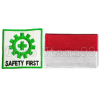 Logo Bordir safety First K3 dan bendera MERAH PUTIH INDONESIA