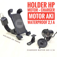 Charger HP Aki Motor USB Fast Charging 2.1 Ampere + Holder HP Motor