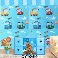grosir murah wallpaper stiker dinding motip karakter tayo