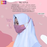 Masker kain hijab 2 lapis polos tali ori Nibras - Gamis hijab isi 10pc