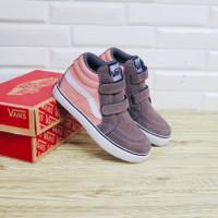 Sepatu Anak Vans Sk8 High Pink Brown Suede Premium BNIB