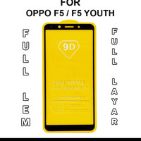 Tempered Glass 9D Full Cover For Oppo F5/F5 Youth - Hitam