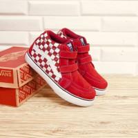 Sepatu Anak Vans Sk8 High Checkerboard Maroon Suede Premium BNIB