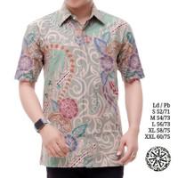 kemeja batik pria lengan pendek batik tulis berlapis trikot AD252 - Tosca Muda, S