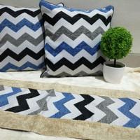Sarung Bantal Kursi Minimalis Cantik Mewah SBK Set Mayada Zig Zag Blue