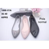 Sepatu flat jelly glitter 1888-X1A