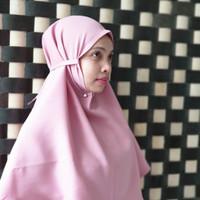 Bergo Tali khalifaaa Hijab Jilbab khimar instan tali tanpa pet pink