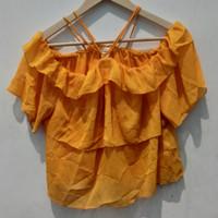 *Preloved* Atasan crop top sabrina off shoulder H&M big size