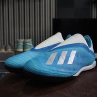 Sepatu Futsal Adidas X 19.3 TF Laceless Bright Cyan Blue Original