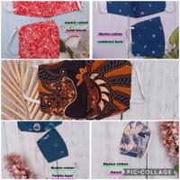 Masker kain cotton katun batik harga 1 lusin (2 ply + 1 slot tissue)