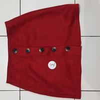 *Preloved* Rok Mini Midi Merah Bershka Bludru