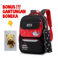 Tas Sekolah Anak Perempuan Tas Backpack Wanita Bonus Boneka Cantik - Merah