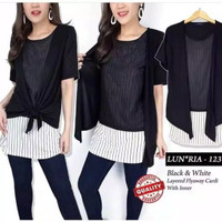 baju atasan combi cardi LUNARIA stipe black blouse double layer