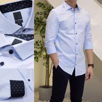 Kemeja H&M HnM Premium Cotton Slim fit Light Blue Shirt Original Kerja